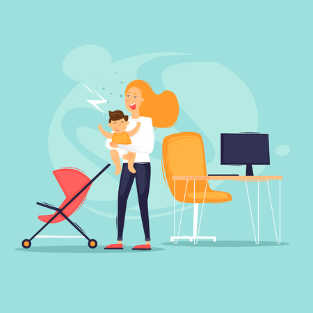 Woman at work with child. Flat design vector illustration.