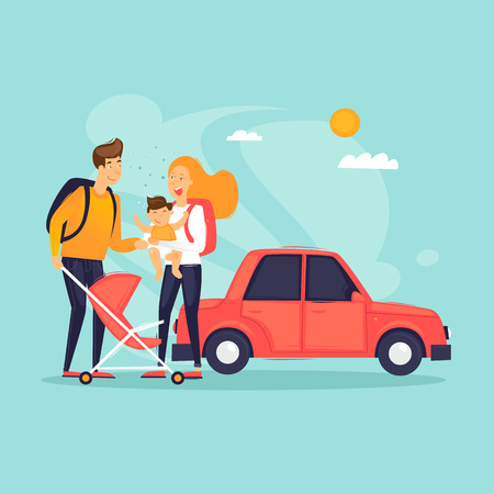 Traveling on a car with a child, adventure, vacation, summer. Flat design vector illustration.