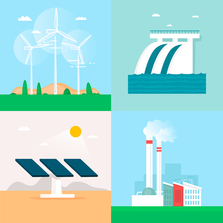 Wind energy, hydroelectric power, solar energy, earth heat, plant. Flat design vector illustration.