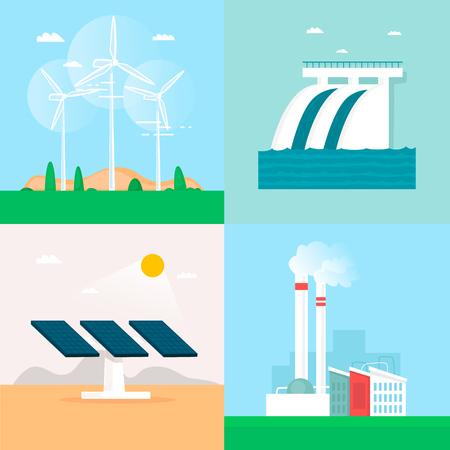 Wind energy, hydroelectric power, solar energy, earth heat, plant. Flat design vector illustration.