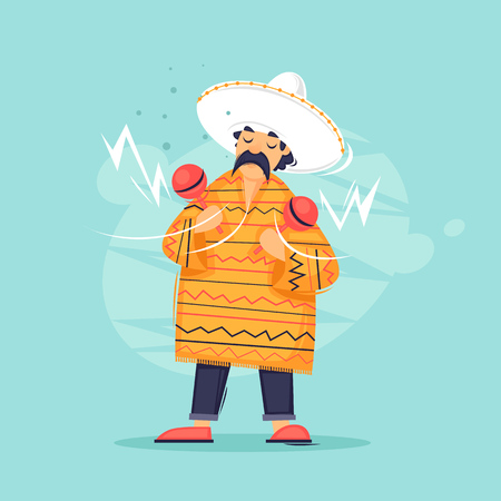Mexican is playing maracas. Flat design vector illustration.