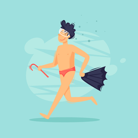 Man runs along the beach with fins and a mask, diving, swimming. Flat design vector illustration.