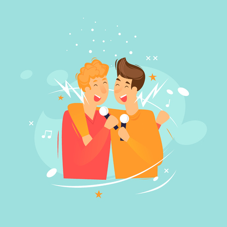 Friends sing in karaoke. Flat design vector illustration.