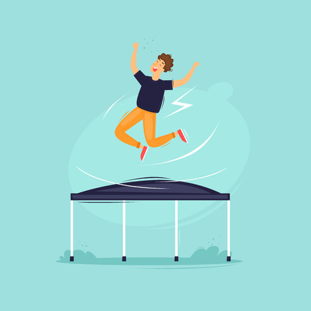 Guy jumps on a trampoline. Flat design vector illustration.