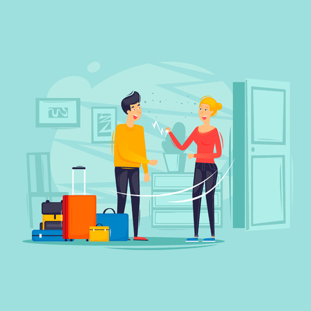 Woman rents a man an apartment, trip, housing rent. Flat design vector illustration. Stock Illustratie