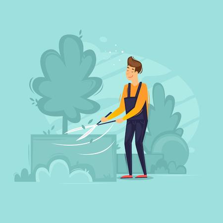 Gardener cuts plants, garden. Flat design vector illustration. Illustration