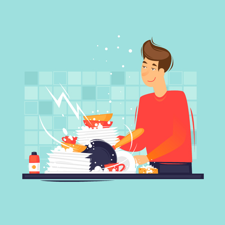 Man washes dirty dishes. Flat design vector illustration. Vettoriali