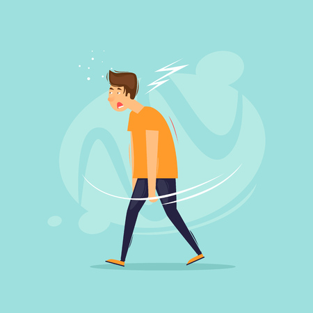 Tired man goes. Flat design vector illustration. 向量圖像