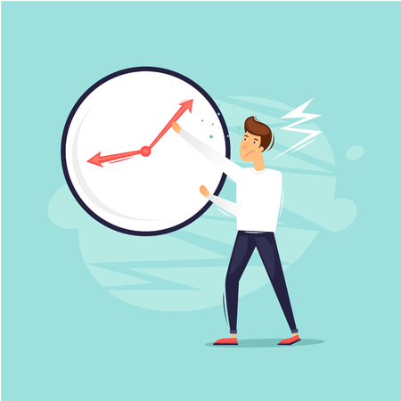 Man tries to stop time. Flat design vector illustration.