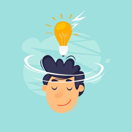 Idea, face with a lightbulb, business, start-up. Flat design vector illustration.
