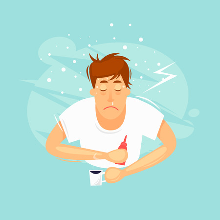 Sick man, cold, runny nose, fever, fever. Flat design vector illustration.