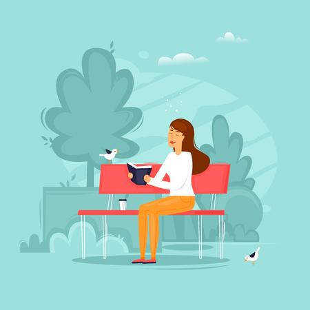 Girl is sitting in a park reading a book. Flat design vector illustration. Иллюстрация