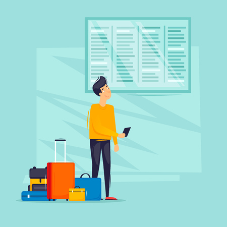 Guy looks at the train station schedule, travel, airport, bus station, railway station. Flat design vector illustration. Illustration