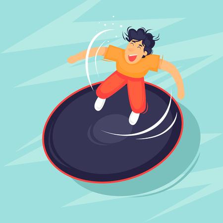 Jumping on a trampoline. Flat design vector illustration.