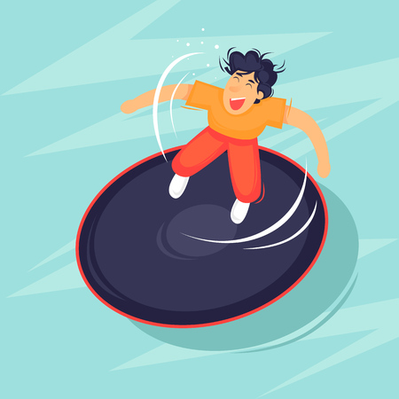 Jumping on a trampoline. Flat design vector illustration.