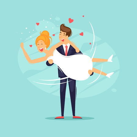 Wedding, the bridegroom holds the bride in her arms. Flat design vector illustration.  イラスト・ベクター素材