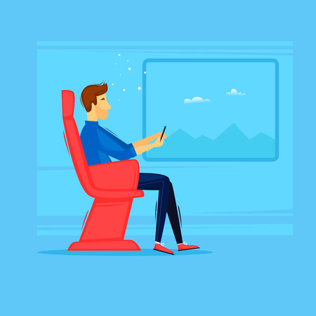 Man is on the train. Flat design vector illustration. Illustration