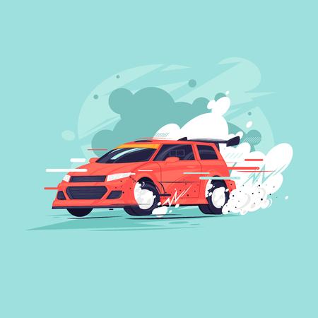 Rallye. Flat design vector illustration.
