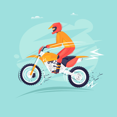 Motocross motorcyclist jumps on a motorcycle. Flat design vector illustration.