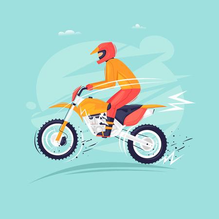 Motorcross motorrijder springt op een motorfiets. Platte ontwerp vectorillustratie.