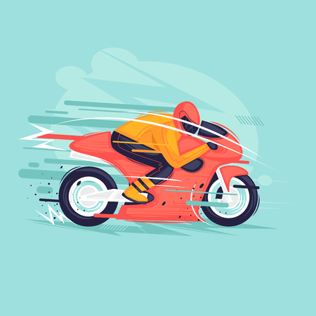 Motorcycle race. Flat design vector illustration. Imagens - 103628882