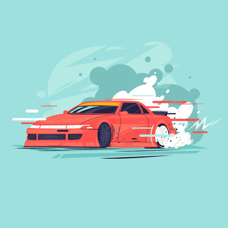 Drift, l'auto va di traverso. Illustrazione vettoriale di design piatto. Vettoriali