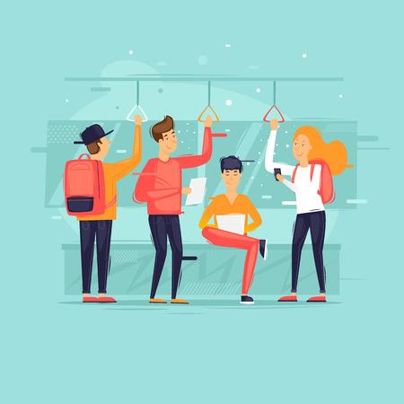 Ludzie jeżdżą komunikacją miejską, metrem, autobusem, pociągiem. Ilustracja wektorowa Płaska konstrukcja.