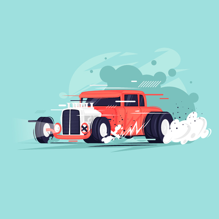 Hot Rod. Flat design vector illustration. Çizim