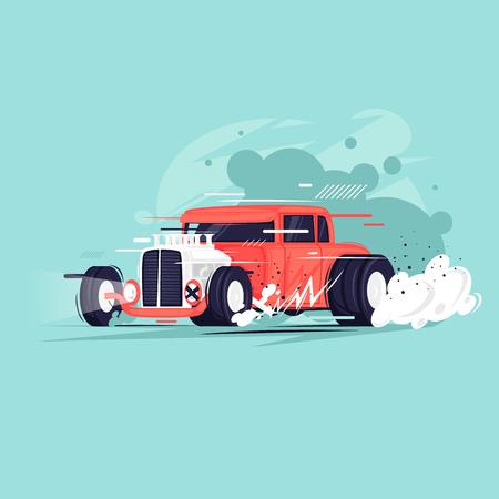 Hot Rod. Flat design vector illustration. Illustration