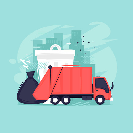 Garbage removal, processing, garbage truck. Flat design vector illustration.
