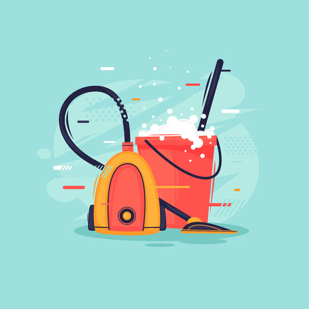 Cleaning in the house, vacuum cleaner and bucket with detergent. Flat design vector illustration. Vectores