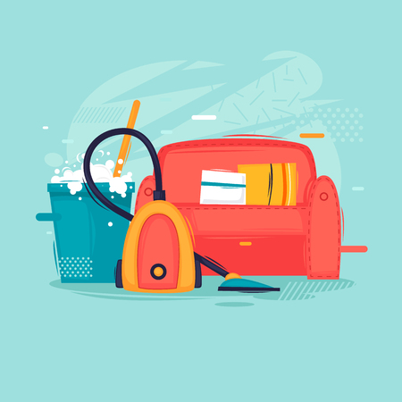 Cleaning the house, cleaning the sofa, upholstered furniture. Flat design vector illustration. Standard-Bild - 103898707
