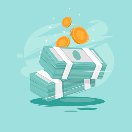 Pile of money coins. Flat design vector illustration.
