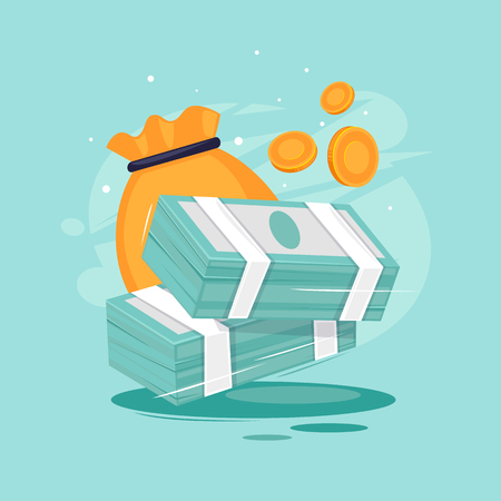 Pile of money and a bag of coins. Flat design vector illustration. Stock Illustratie