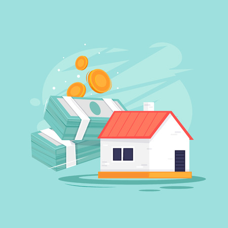 Buying a property. Flat design vector illustration. Stock Illustratie