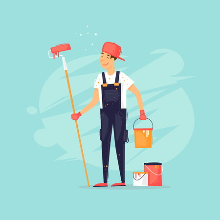 Painter holds a roller and can of paint. Flat design vector illustration.