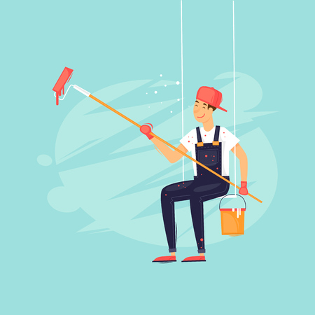 Painter paints on the winch. Flat design vector illustration. Ilustração