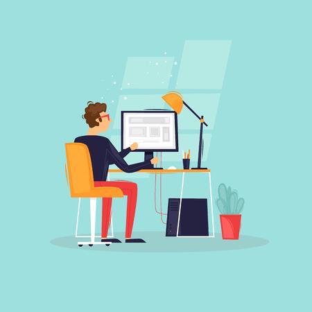 Programmer works at the computer, businessman, workplace, rear view. Flat design vector illustration. Vektorové ilustrace