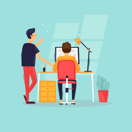 Teamwork, start-up, business ideas, office life, rear view. Flat design vector illustration. Ilustração Vetorial