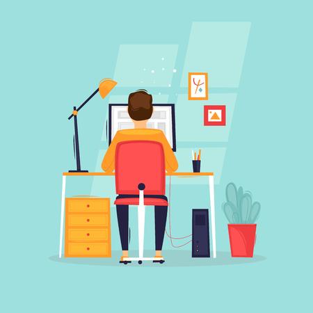 El programador trabaja en la computadora, empresario, lugar de trabajo, vista trasera. Ilustración de vector de diseño plano. Ilustración de vector