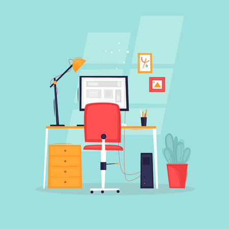 Workplace, office life, business, work. Flat design vector illustration.