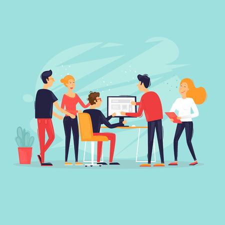 Teamwork, start-up, business ideas, office life, rear view. Flat design vector illustration. Vector Illustration