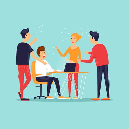 Teamwork, start-up, business ideas, office life, rear view. Flat design vector illustration.
