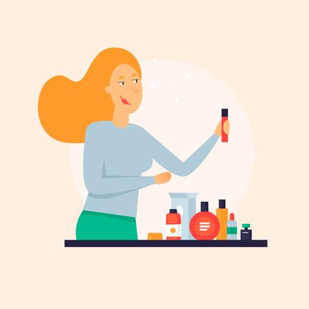 Woman chooses perfume. Flat design vector illustration. Illustration