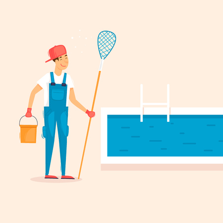 Cleaner pools, man with a net. Flat design vector illustration. Stock Illustratie