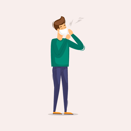 Man coughs because of dirty air, pollution, ecology, wearing a bandage. Flat design vector illustration.