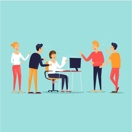 Trabajo en equipo, puesta en marcha, soporte, análisis de datos, lluvia de ideas, reunión. Ilustración de vector de diseño plano.