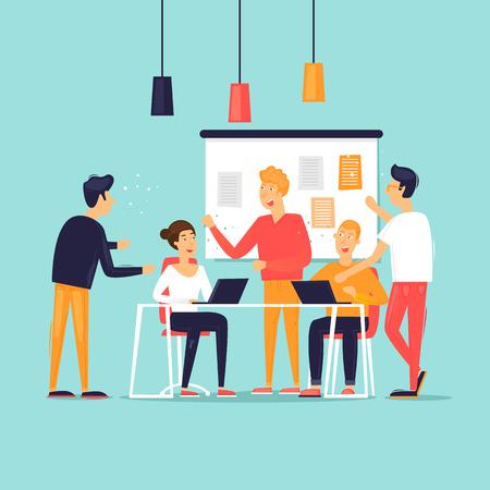 Lavoro di squadra, avvio, supporto, analisi dei dati, brainstorming, meeting. Illustrazione vettoriale di design piatto.
