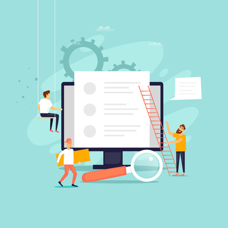 Copyright, blogs, gente que trabaja cerca de una computadora, Internet. Ilustración de vector de diseño plano.