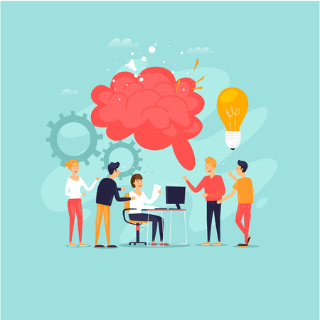 Teamwork, brainstorming, a group of people working together, developing ideas. Flat design vector illustration. Çizim